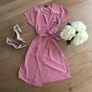 Dusty Rose Wrap Dress in Crepe